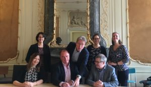 A photograph of the senior staff signing the Memorandum of Understanding at Utrecht University